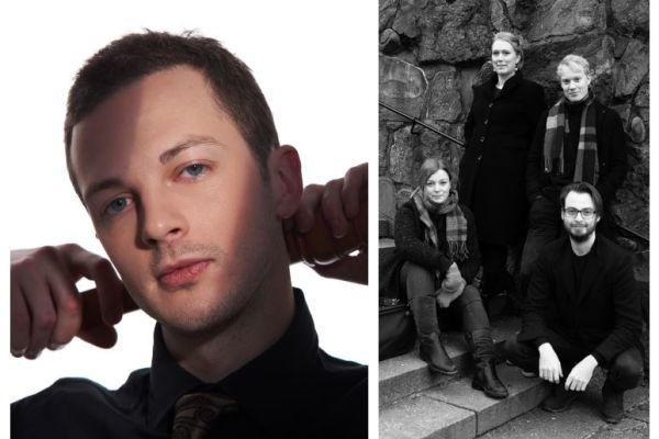Per Gross till vänster, Treitlerkvartetten till höger i bild.